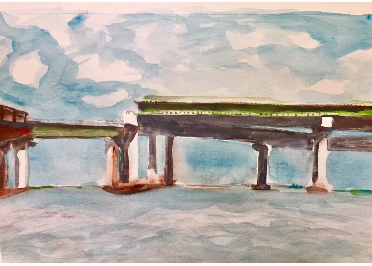 Disconnected Beesleys Point Bridge, watercolor on paper. 2019